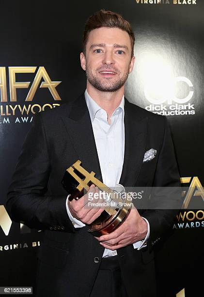 Recording artist Justin Timberlake recipient of the Hollywood Song Award for Troll's 'Can't Stop The Feeling' poses in the press room at the 20th...