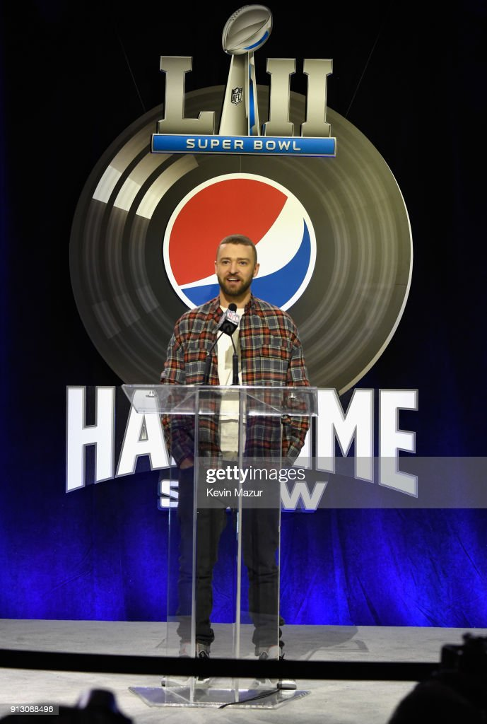 Recording artist Justin Timberlake speaks onstage at the Pepsi Super Bowl LII Halftime Show Press Conference at Hilton Minneapolis on February 1, 2018 in Minneapolis, Minnesota.