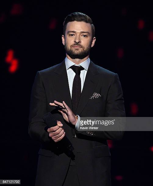 Recording artist Justin Timberlake speaks onstage during the 2016 ESPYS at Microsoft Theater on July 13 2016 in Los Angeles California