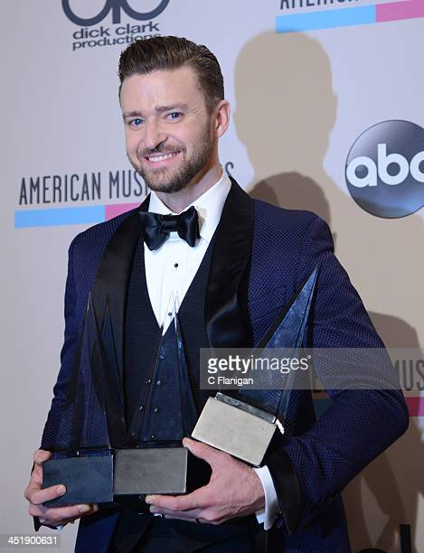 Recording artist Justin Timberlake winner of Favorite Male Artist Pop/Rock Favorite Male Artist Soul/RB and Favorite Album Soul/RB for 'The 20/20...