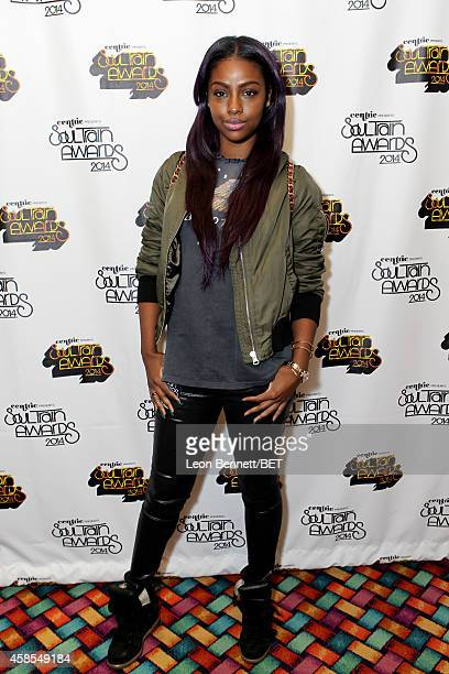 Recording artist Justine Skye attends day 1 of the 2014 Soul Train Music Awards Gifting Suite at the Orleans Arena on November 6 2014 in Las Vegas...