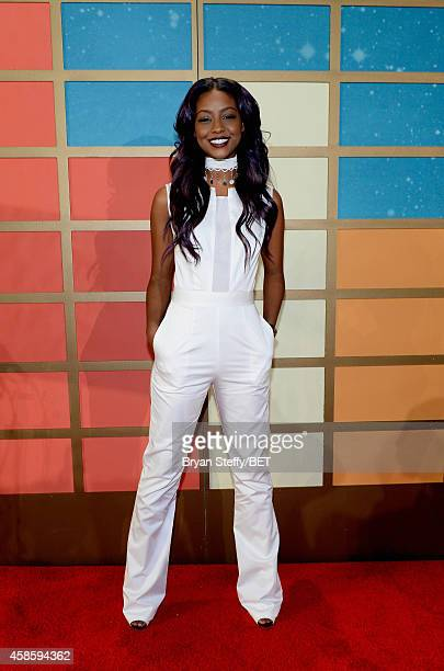Recording artist Justine Skye attends the 2014 Soul Train Music Awards at the Orleans Arena on November 7 2014 in Las Vegas Nevada