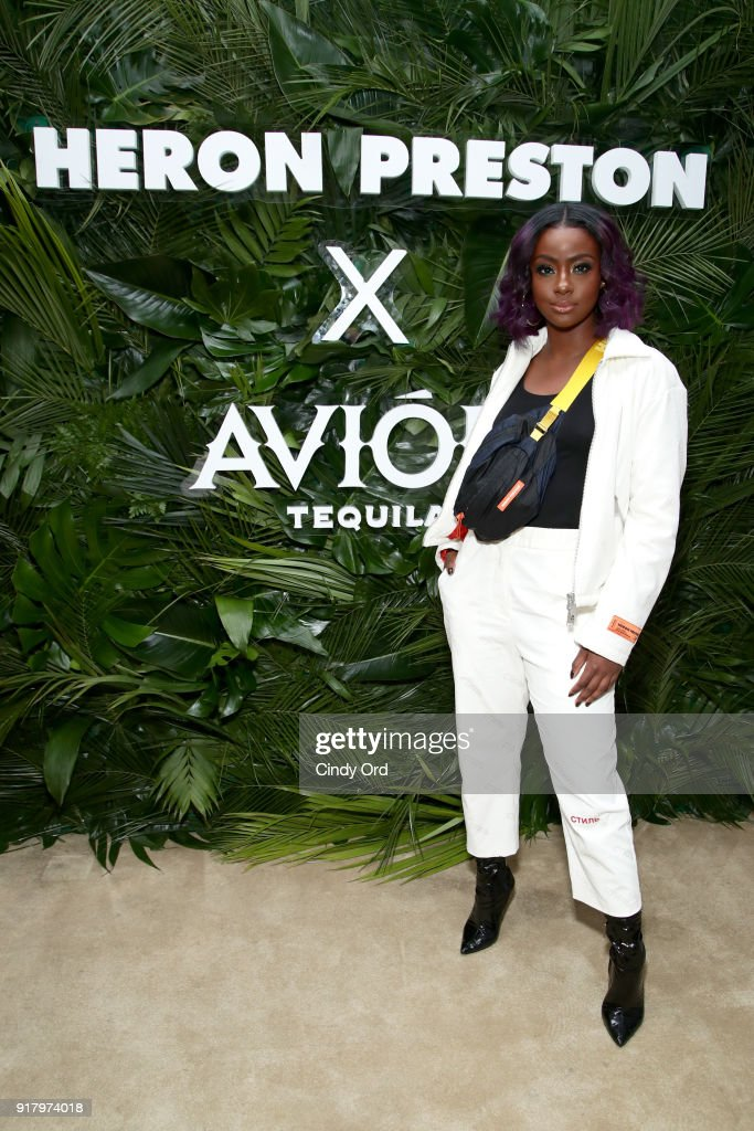 Recording artist Justine Skye attends the Heron Preston + Tequila Avion Dance Party in Celebration Of Heron Preston 'Public Figure' at Public Arts on February 13, 2018 in New York City.