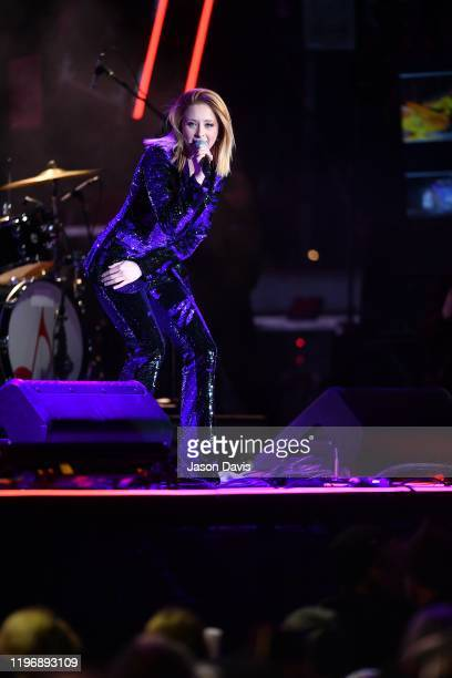 Recording Artist Kalie Shorr performs on stage during Jack Daniels Music City Midnight New Years in Nashville on December 31 2019 in Nashville...