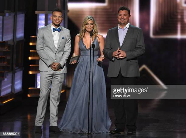 Recording artist Kane Brown recording artist Lauren Alaina and radio personallity Storme Warren speak onstage during the 52nd Academy of Country...