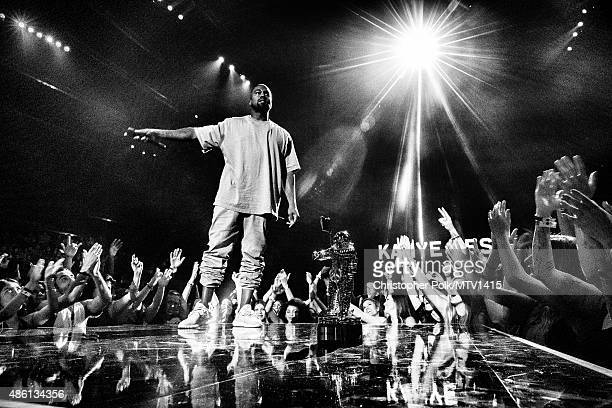 Recording artist Kanye West accepts the Vanguard Award onstage during the 2015 MTV Video Music Awards at Microsoft Theater on August 30 2015 in Los...