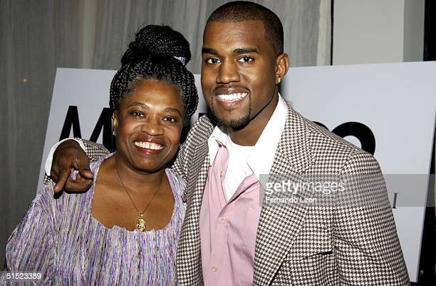 Recording artist Kanye West and his mother attend GQ Honors Bulgari Men Who Make NY Look Great at Table 50 October 20 2004 in New York City