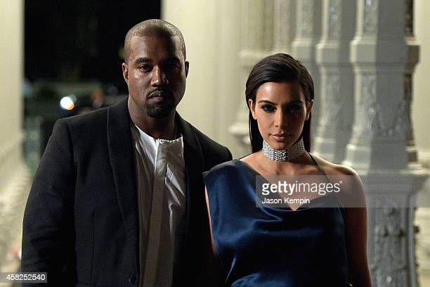 Recording artist Kanye West and TV personality Kim Kardashian attend the 2014 LACMA Art + Film Gala honoring Barbara Kruger and Quentin Tarantino...