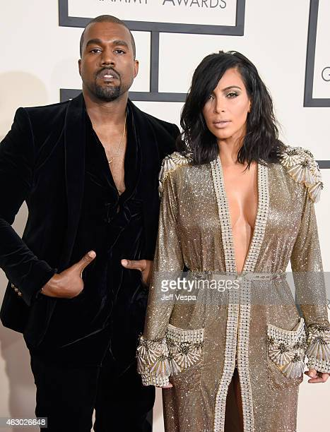 Recording artist Kanye West and tv personality Kim Kardashian attend The 57th Annual GRAMMY Awards at the STAPLES Center on February 8 2015 in Los...