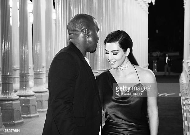 Recording artist Kanye West and TV personality Kim Kardashian West are photographed at the 2014 LACMA Art Film Gala Honoring Barbara Kruger And...