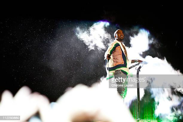 Recording artist Kanye West performs at day 3 of the 2011 Coachella Valley Music Arts Festival at The Empire Polo Club on April 17 2011 in Indio...