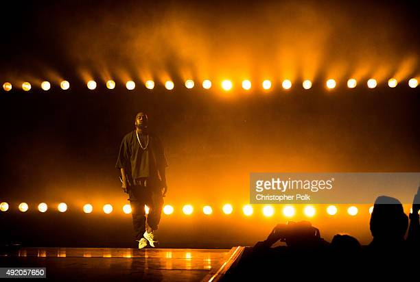 Recording artist Kanye West performs onstage at the 2015 iHeartRadio Music Festival at MGM Grand Garden Arena on September 18 2015 in Las Vegas Nevada