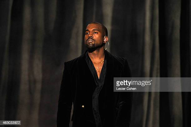 Recording artist Kanye West performs onstage during The 57th Annual GRAMMY Awards at the STAPLES Center on February 8 2015 in Los Angeles California