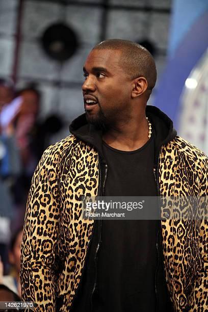 b8eac7d3b3c Recording artist Kanye West visits BET s 106 Park on April 9 2012 in New  York City