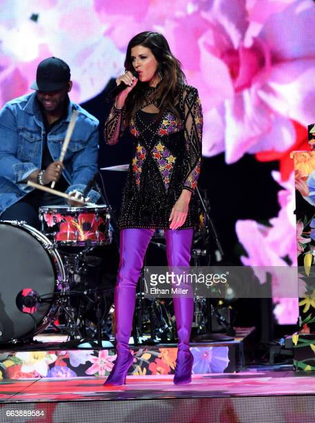 Recording artist Karen Fairchild of music group Little Big Town performs onstage during the 52nd Academy of Country Music Awards at TMobile Arena on...