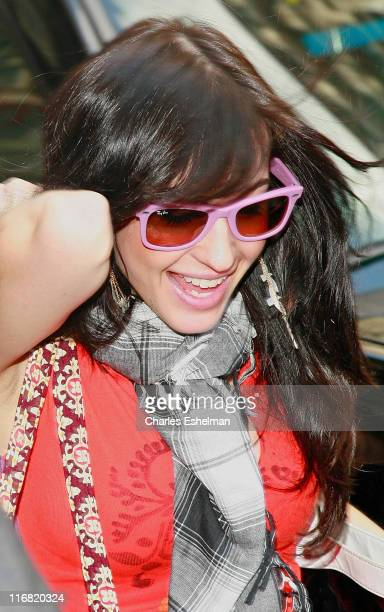 Recording artist Kate Voegele arrives at the Verizon Wireless Communications Store on June 25 2008 in New York City