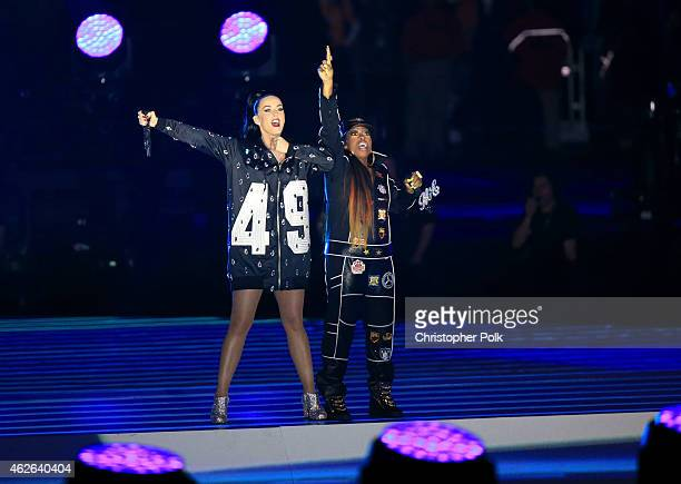 Recording artist Katy Perry and recording artist Missy Elliott perform onstage during the Pepsi Super Bowl XLIX Halftime Show at University of...