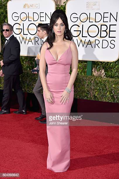 Recording artist Katy Perry attends the 73rd Annual Golden Globe Awards held at the Beverly Hilton Hotel on January 10 2016 in Beverly Hills...