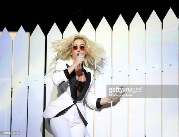 Recording artist Katy Perry onstage during The 59th GRAMMY Awards at STAPLES Center on February 12 2017 in Los Angeles California