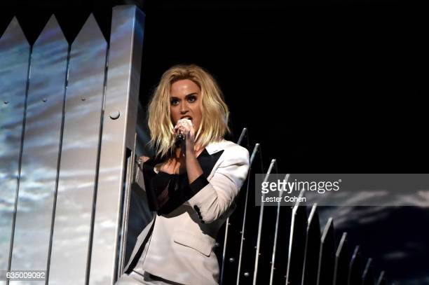 Recording artist Katy Perry performs onstage during The 59th GRAMMY Awards at STAPLES Center on February 12 2017 in Los Angeles California