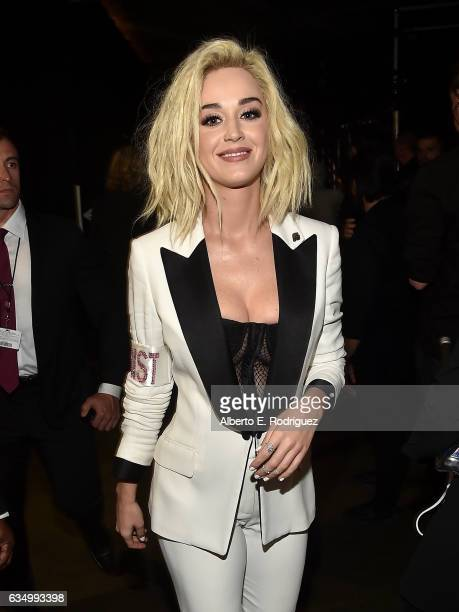 Recording artist Katy Perry walks backstage at The 59th GRAMMY Awards at STAPLES Center on February 12 2017 in Los Angeles California