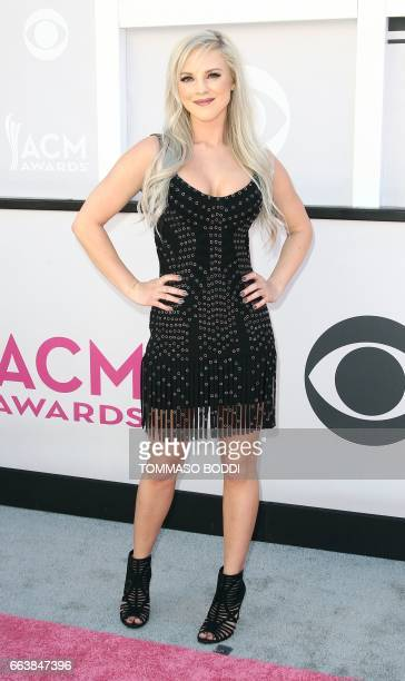 Recording artist Kayla Adams arrives for the 52nd Academy of Country Music Awards on April 2 at the TMobile Arena in Las Vegas Nevada / AFP PHOTO /...