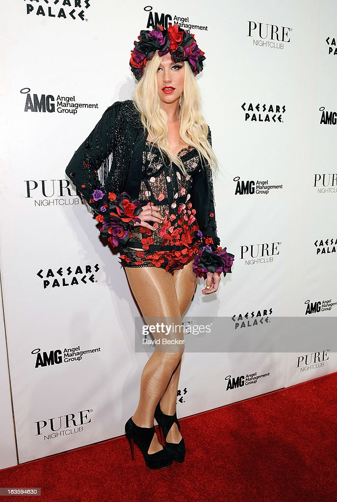 Recording artist Ke$ha arrives at the Pure Nightclub at Caesars Palace to host the club's eighth anniversary party on March 13, 2013 in Las Vegas, Nevada.