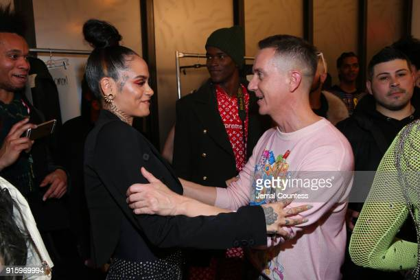 Recording artist Kehlani and designer Jeremy Scott pose backstage for Jeremy Scott during New York Fashion Week The Shows at Gallery I at Spring...