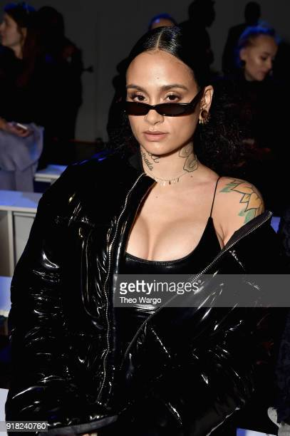Recording Artist Kehlani attends the Laquan Smith front row during New York Fashion Week The Shows at Gallery I at Spring Studios on February 14 2018...
