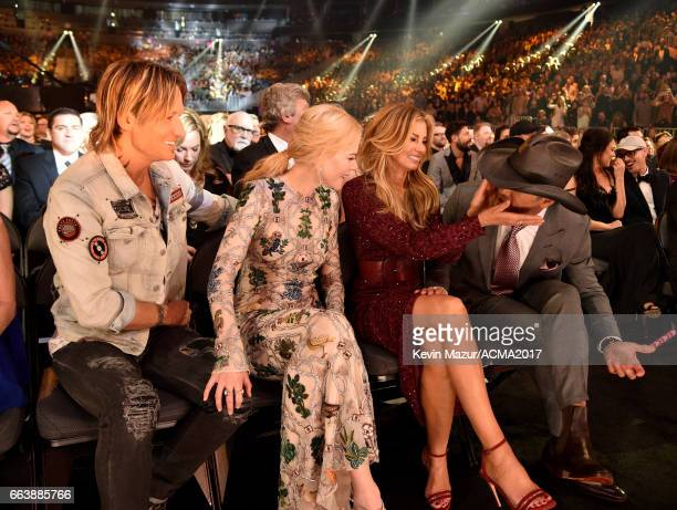 Recording artist Keith Urban actor Nicole Kidman and recording artists Faith Hill and Tim McGraw attend the 52nd Academy Of Country Music Awards at...