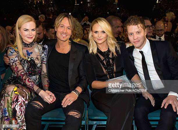 Recording artist Keith Urban Nicole Kidman Miranda Lambert and Anderson East pose in the audience at the 51st Academy of Country Music Awards at MGM...