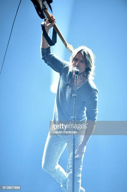 Recording artist Keith Urban performs onstage during MusiCares Person of the Year honoring Fleetwood Mac at Radio City Music Hall on January 26 2018...