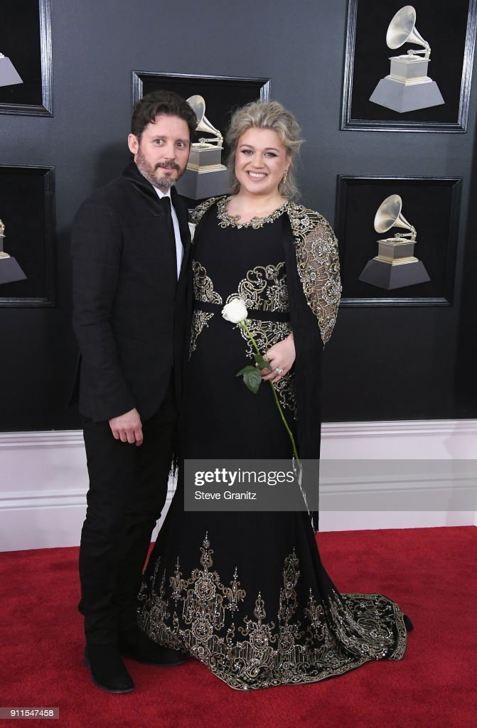 Recording artist Kelly Clarkson (R) and Brandon Blackstock attend the 60th Annual GRAMMY Awards at Madison Square Garden on January 28, 2018 in New York City.