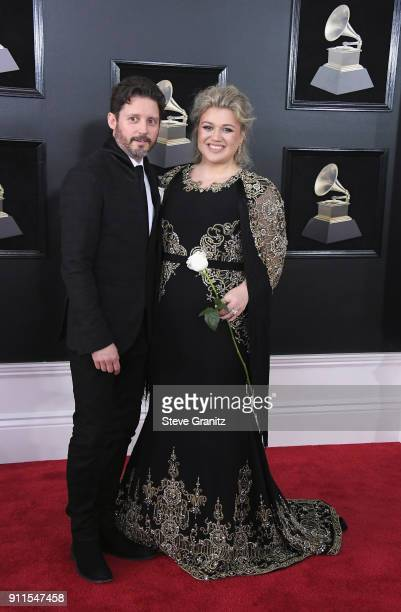 Recording artist Kelly Clarkson and Brandon Blackstock attend the 60th Annual GRAMMY Awards at Madison Square Garden on January 28 2018 in New York...