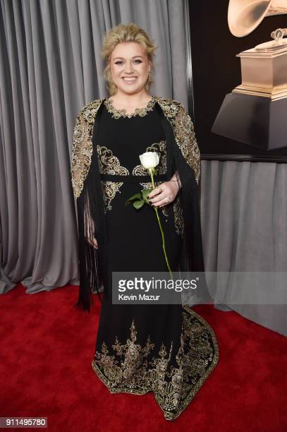 Recording artist Kelly Clarkson white rose detail attends the 60th Annual GRAMMY Awards at Madison Square Garden on January 28 2018 in New York City