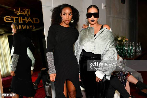 Recording artist Kelly Rowland and actor La La Anthony relax in the Etihad Airways VIP Lounge at NYFW The Shows at New York Fashion Week The Shows at...