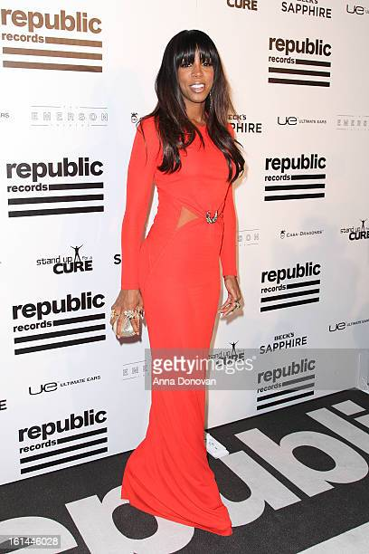 Recording artist Kelly Rowland arrives to the Republic Records post GRAMMY party at the Emerson Theatre on February 10 2013 in Hollywood California