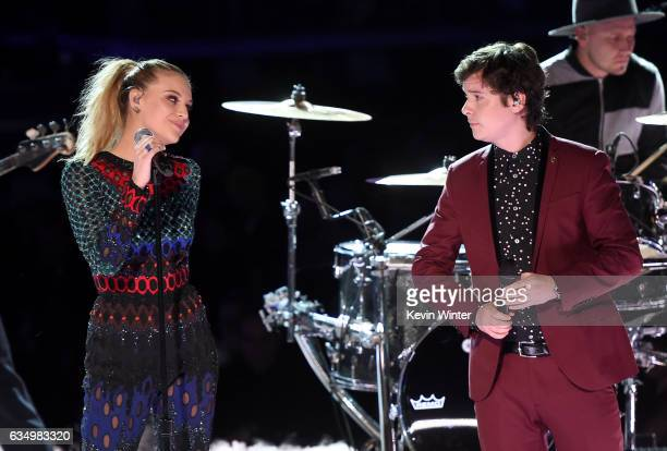 Recording artist Kelsea Ballerini and Lukas Graham music group members Lukas Forchhammer and Mark Falgren perform onstage during The 59th GRAMMY...