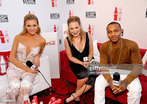 Recording artist Kelsea Ballerini tv personality Poppy Jamie and actor Shad Moss attend the 2015 American Music Awards at Microsoft Theater on...