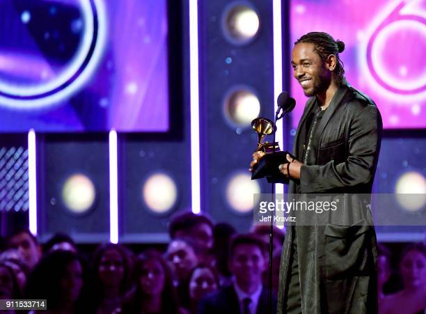 Recording artist Kendrick Lamar accepts award for Best Rap Album onstage during the 60th Annual GRAMMY Awards at Madison Square Garden on January 28...