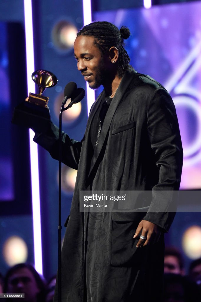 Recording artist Kendrick Lamar accepts the award for Best Rap Album during the 60th Annual GRAMMY Awards at Madison Square Garden on January 28, 2018 in New York City.