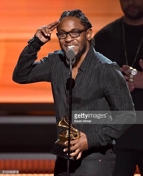 Recording artist Kendrick Lamar accepts the Best Rap Album award for 'To Pimp a Butterfly' onstage during The 58th GRAMMY Awards at Staples Center on...