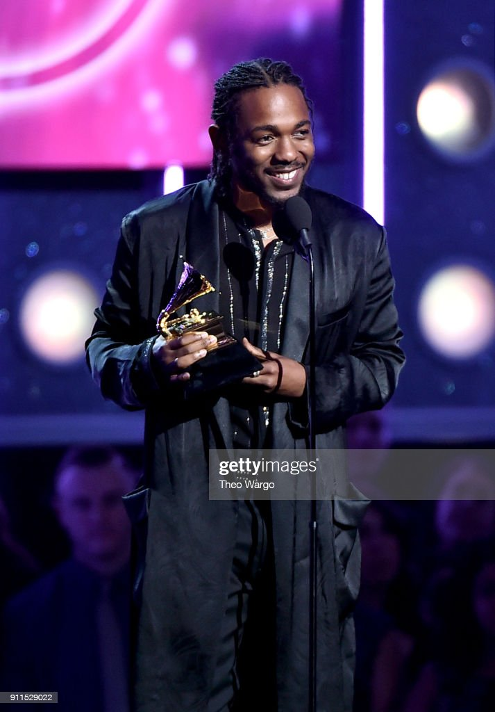 Recording artist Kendrick Lamar accepts the Best Rap Album award for 'Damn' onstage during the 60th Annual GRAMMY Awards at Madison Square Garden on January 28, 2018 in New York City.