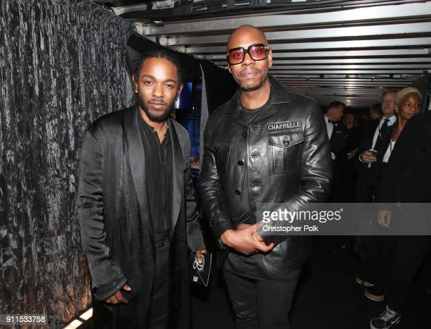 Recording artist Kendrick Lamar and comedian Dave Chappelle attend the 60th Annual GRAMMY Awards at Madison Square Garden on January 28 2018 in New...
