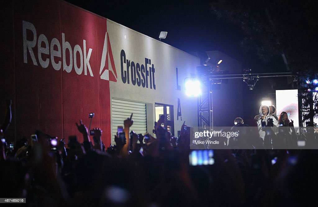 Recording artist Kendrick Lamar performs at #GETPUMPED live event. Reebok And Kendrick Lamar Take Over The Streets Of Hollywood, Fusing Fitness And Music With A Ground-Breaking Event on March 24, 2015 in West Hollywood, California.