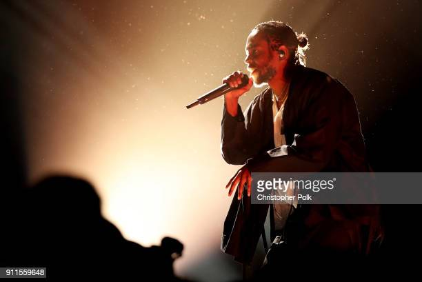 Recording artist Kendrick Lamar performs onstage at the 60th Annual GRAMMY Awards at Madison Square Garden on January 28 2018 in New York City