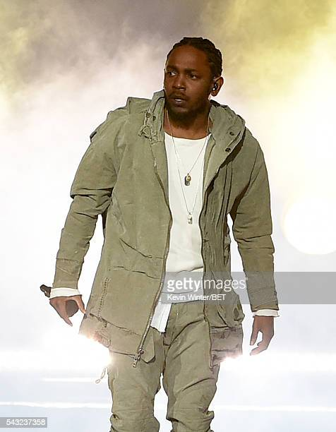 Recording artist Kendrick Lamar performs onstage during the 2016 BET Awards at the Microsoft Theater on June 26 2016 in Los Angeles California