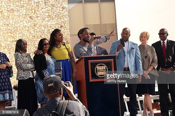 Recording artist Kendrick Lamar speaks onstage at the 2016 Key To The City Ceremony on February 13 in Compton, California.
