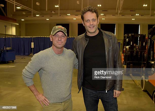 Recording artist Kenny Chesney and actor Vince Vaughn attend the 2014 American Country Countdown Awards at Music City Center on December 15 2014 in...