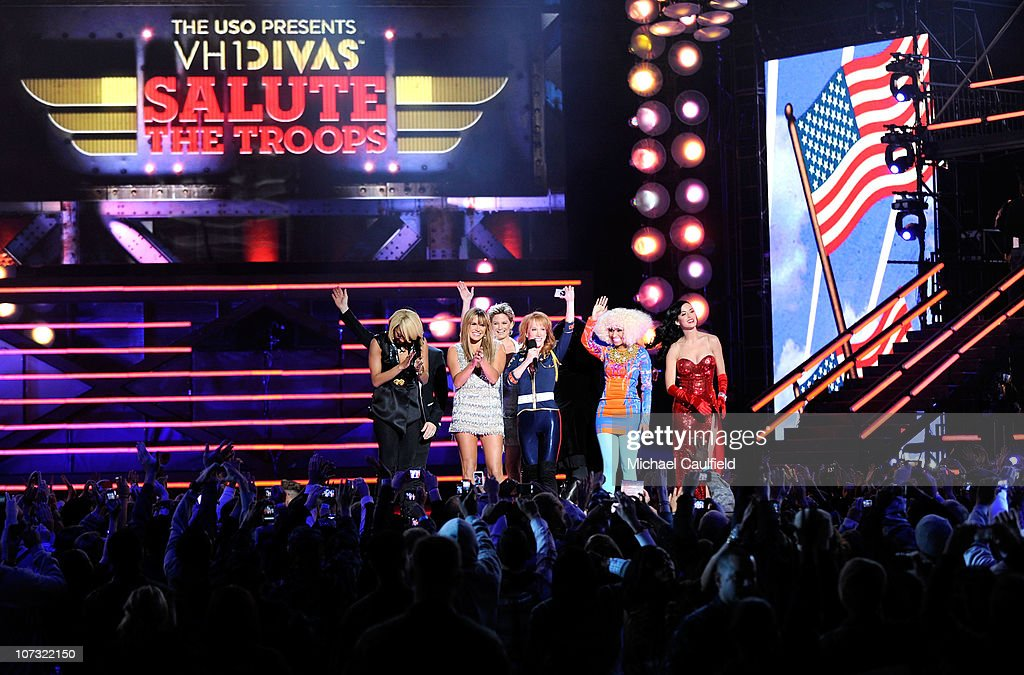 Recording artist Keri Hilson, singer Grace Potter, singer Jennifer Nettles, comedian Kathy Griffin, singer Nicki Minaj, and singer Katy Perry perform onstage during 'VH1 Divas Salute the Troops' presented by the USO at the MCAS Miramar on December 3, 2010 in Miramar, California. 'VH1 Divas Salute the Troops' concert event will be televised on Sunday, December 5 at 9:00 PM ET/PT on VH1.